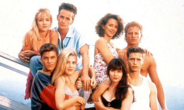 Beverly Hillsin näyttelijöitä vuonna 1991.Jennie Garth kuvassa vasemmalla.
