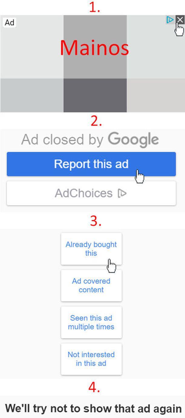 Kuvassa vaiheet, joiden avulla mainoksen voi piilottaa.