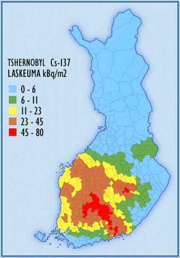 Cesium-137-laskeumat vuodelta 1987. Eniten Tshernobylin laskeumaa saanut alue on Hämeessä.