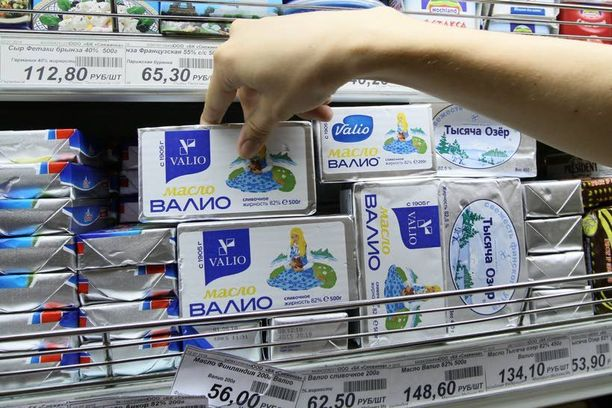 Valion syöksy alkoi, kun Venäjä laittoi rajansa kiinni EU-ruualta. Vielä vuonna 2010 Valion voi oli suosittu tuote moskovalaisessa marketissa.