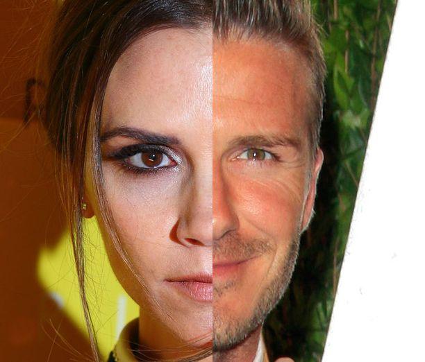 Sekä Victoria että David Beckham ovat kapeakasvoisia.