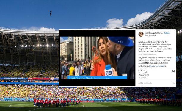 Julieth González Theránia häirittiin törkeästi kesken työtehtävän jalkapallon MM-kisoissa.