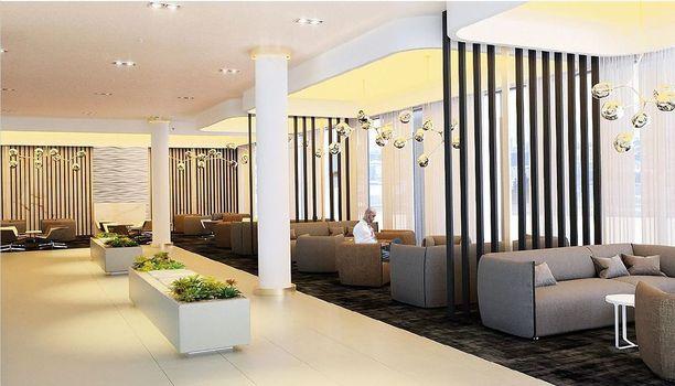 Havainnekuva Tallink Spa -hotellin aulatiloista remontin jälkeen.