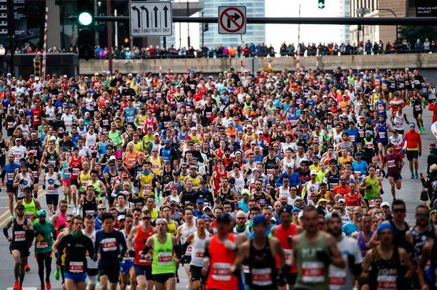 Chicagon maratonin juoksijamassaa vuodelta 2019.