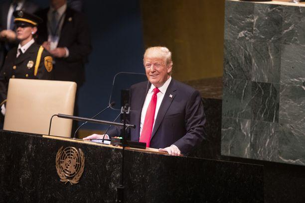 USA:n presidentti Donald Trump puhumassa YK:n päämajassa viime viikolla.