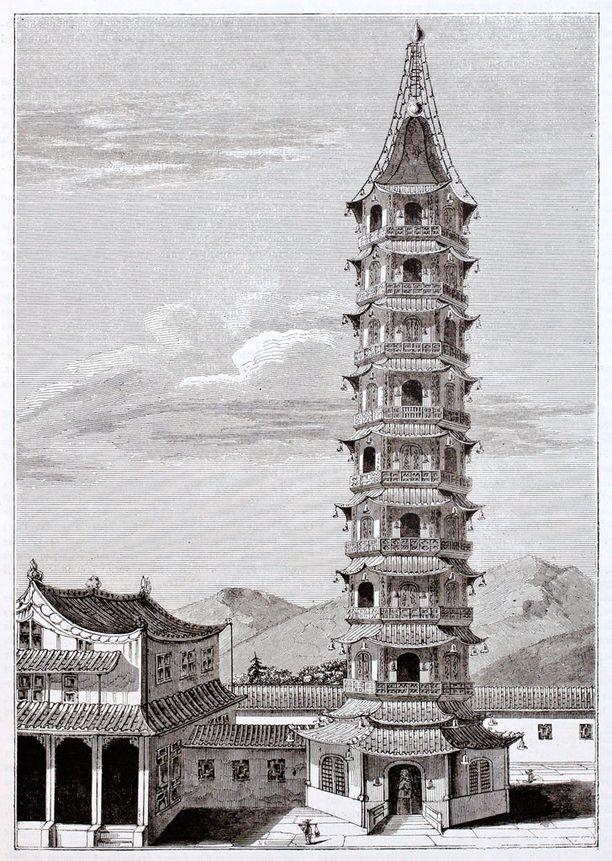 Vanha piirros 1800-luvulla tuhotusta tornista.