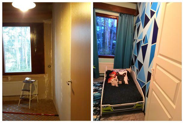 Eerikin huoneen seinä kolmiokuvioineen on Annan käsialaa.