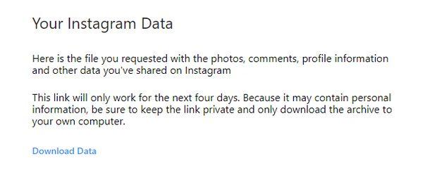 Instagram ilmoittaa, kun tiedot ovat valmiita ladattavaksi.