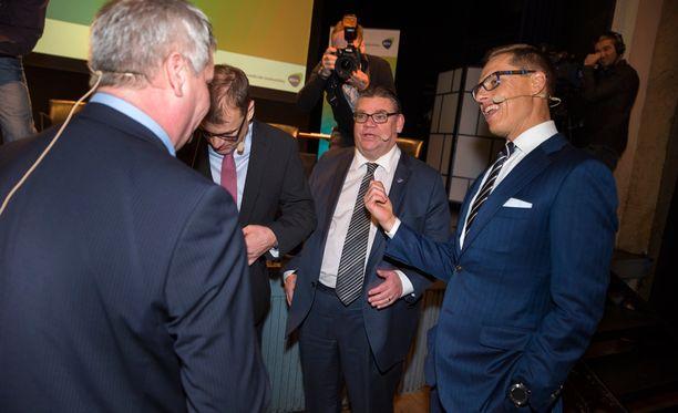 Antti Rinne, Juha Sipilä, Timo Soini ja Alexander Stubb jakoivat ajatuksiaan EK:n pääministeritentin yhteydessä tammikuussa.