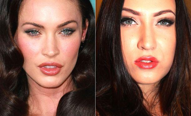 Vasemmalla oikea Megan Fox, oikealla tähteä erehdyttävästi muistuttava Emmi.