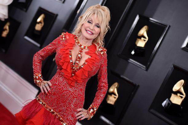 Suosikkitähti Dolly Parton Grammy-gaalassa vuonna 2019.