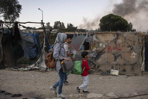 Tulipalot ovat olleet yleisiä Kreikan pakolaisleireillä talven aikana. Kuva syksyllä palaneesta Morian leiristä Lesboksen saarella.