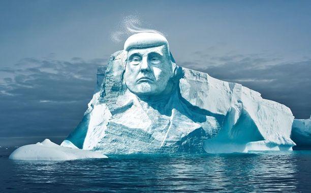 Trumpin kasvot on tarkoitus ikuistaa jäävuoreen - kunnes ne mahdollisesti sulavat.