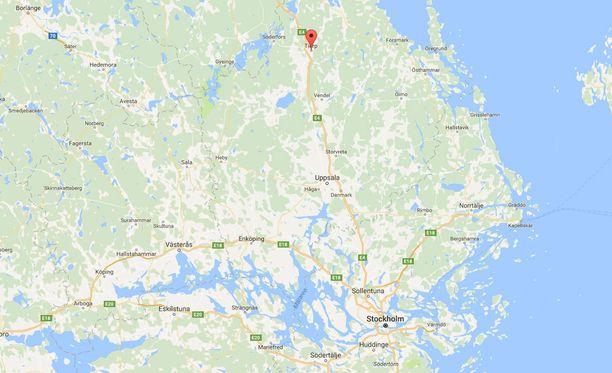 Onnettomuus tapahtui Tierpin lähellä Uppsalasta pohjoiseen.