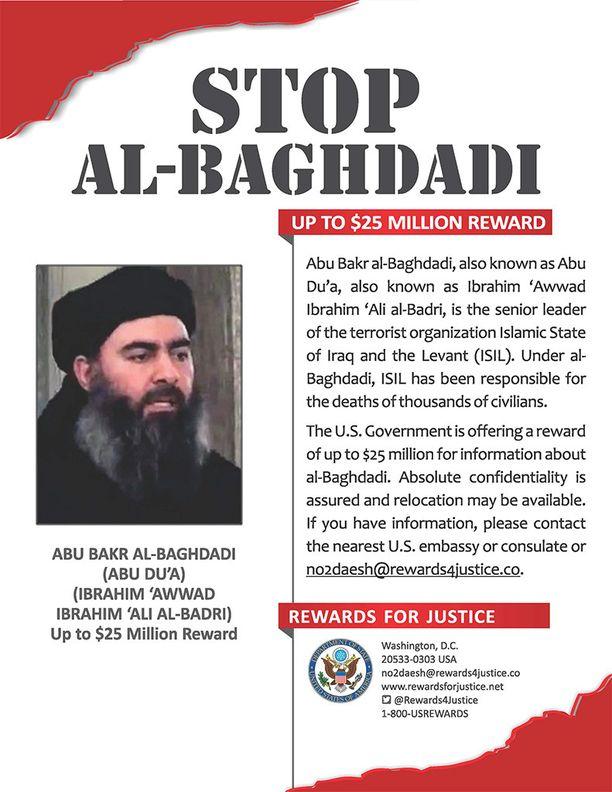 USA:n ulkoministeriön Rewards for Justice -ohjelman etsintäkuulutus Abu Bakr al-Baghdadista.