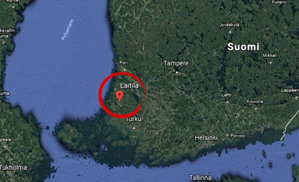 Karttakuvassa Laitila.