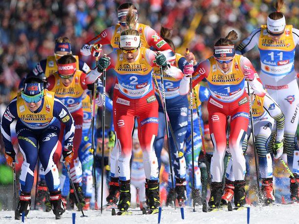 Naisten kympin ensimmäisillä kilometreillä oli lauantaina ahdasta. Kun latu oli samaan aikaan jäässä, kilpailussa nähtiin useita vaaratilanteita.