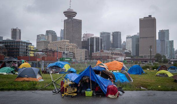 Tässä kodittomien leirissä Vancouverissa asuu noin 150 ihmistä.
