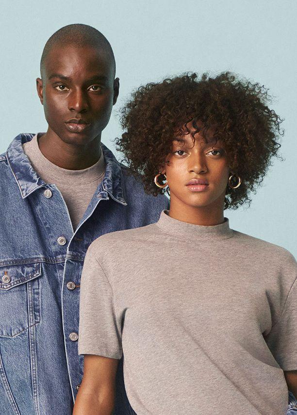Vaatteet on valmistettu luomupuuvillasta tai kierrätetystä puuvillasta.