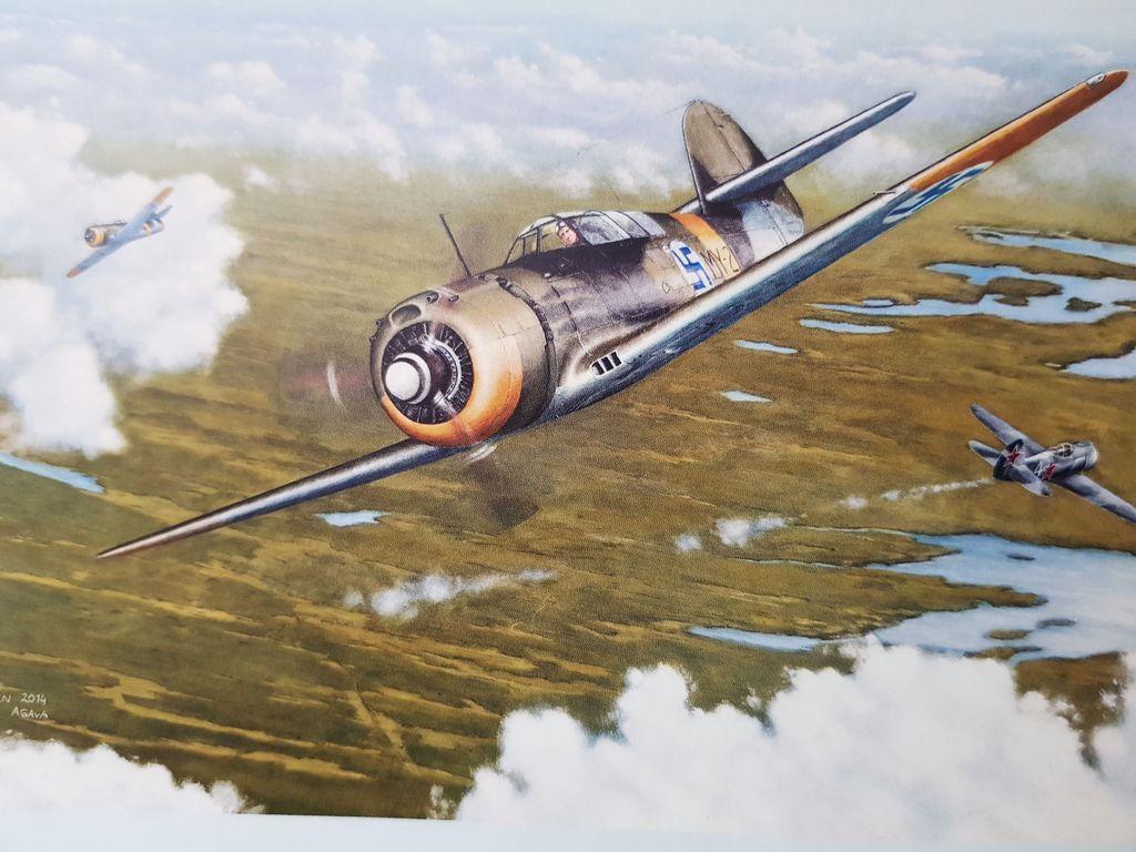Venäläishävittäjä vaurioitui Myrskyn luodeista Laatokalla elokuussa 1944 käydyssä ilmataistelussa, joka ikuistettiin maalaukseen.