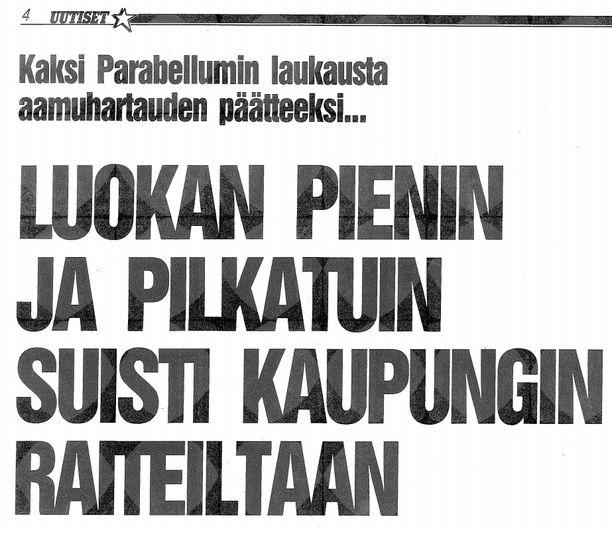 Iltalehden otsikko seuraavan päivän lehdessä 26. tammikuuta 1989.