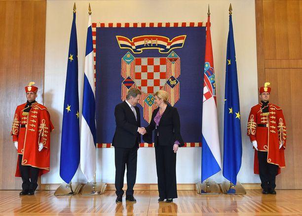 Presidentti Sauli Niinistö tapasi tiistaina Kroatian presidentin Kolinda Grabar-Kitarovićin Zagrebissa.