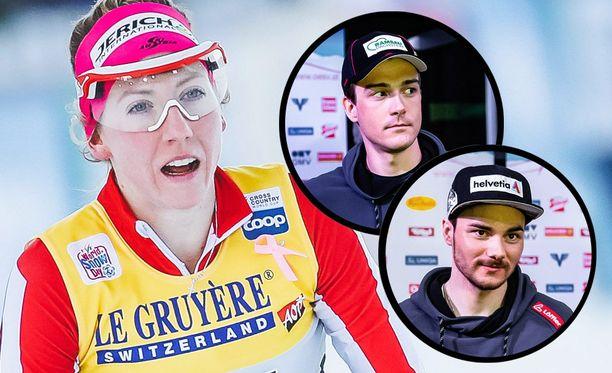 Teresa Stadlober raivostui dopingista kärynneille ex-joukkuekavereilleen Max Haukelle (pieni yläkuva) ja Dominik Baldaufille.