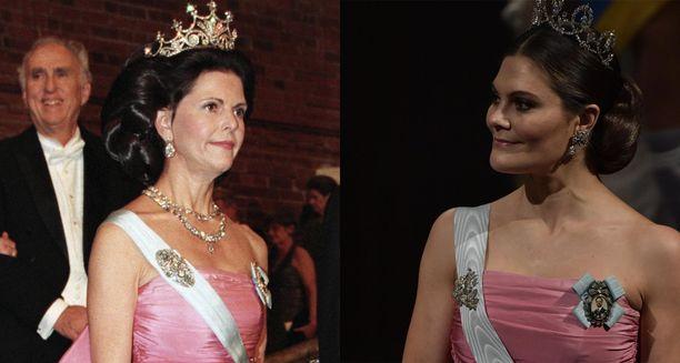 Silvia (vas.) vuonna 1995 ja Victoria vuonna 2018.