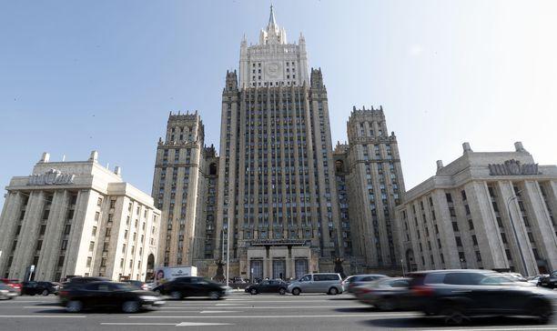 Venäjän ulkoministeriö julkaisi lauantaina erikoisen tviitin. Kuvassa Venäjän ulkoministeriön rakennus Moskovassa.