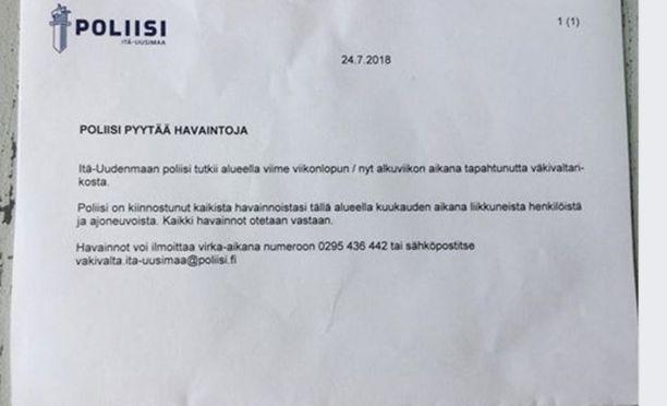 Poliisi jakoi Hansaksen asukkaille viime viikolla viestin, jossa rikoksesta kerrottiin.