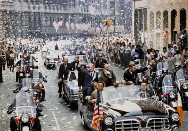 Apollo 11 astronautteja juhlitaan New Yorkissa elokuussa 1969.