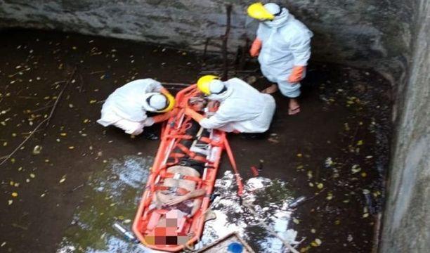 Kaivossa ei miehen onneksi ollut paljon vettä.