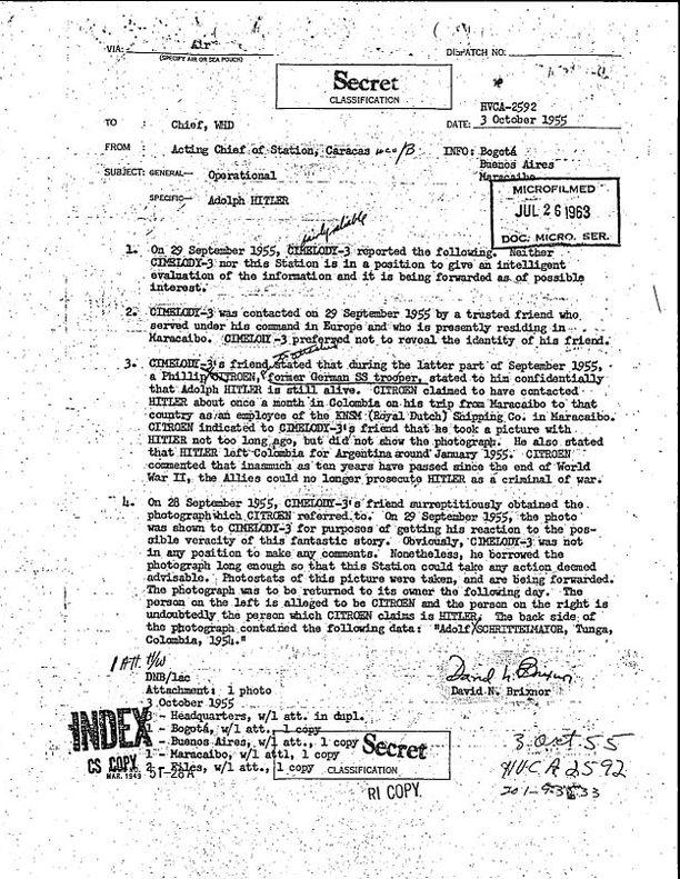 Caracasista Venezuelasta CIA:lle lähetetty muistio kertoo Adolf Hitlerin olevan elossa. Muistio on päivätty 3. lokakuuta 1955.