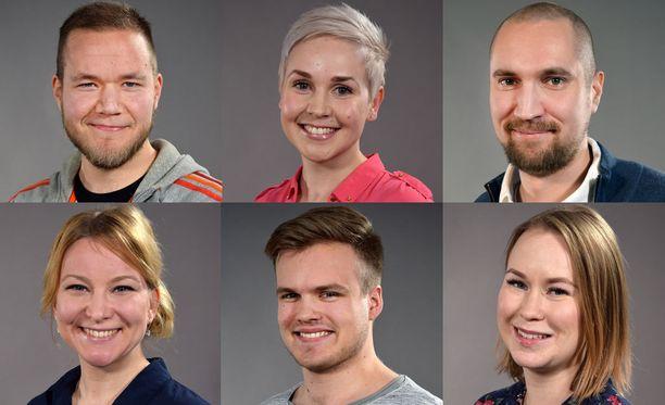 Ylärivin Vesa, Rosa ja Heikki selä alarivin Miina, Eetu ja Sini ovat tämän syksyn uudet, avioon astelevat sinkut.