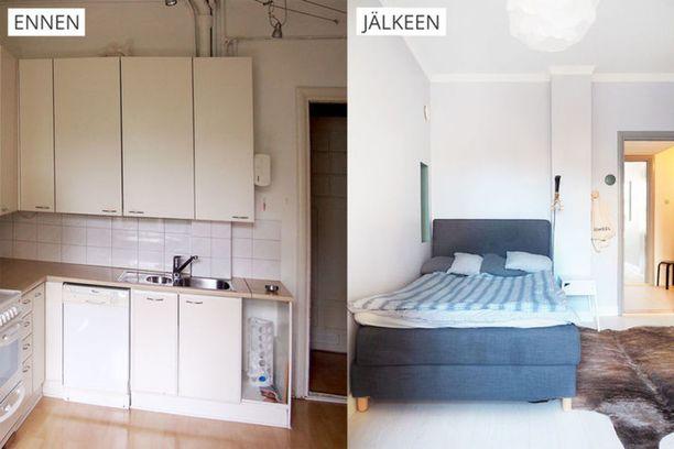 Keittiö ja makuuhuone vaihtoivat paikkaa. Tämä vaati muun muassa vesipisteen siirtämisen.