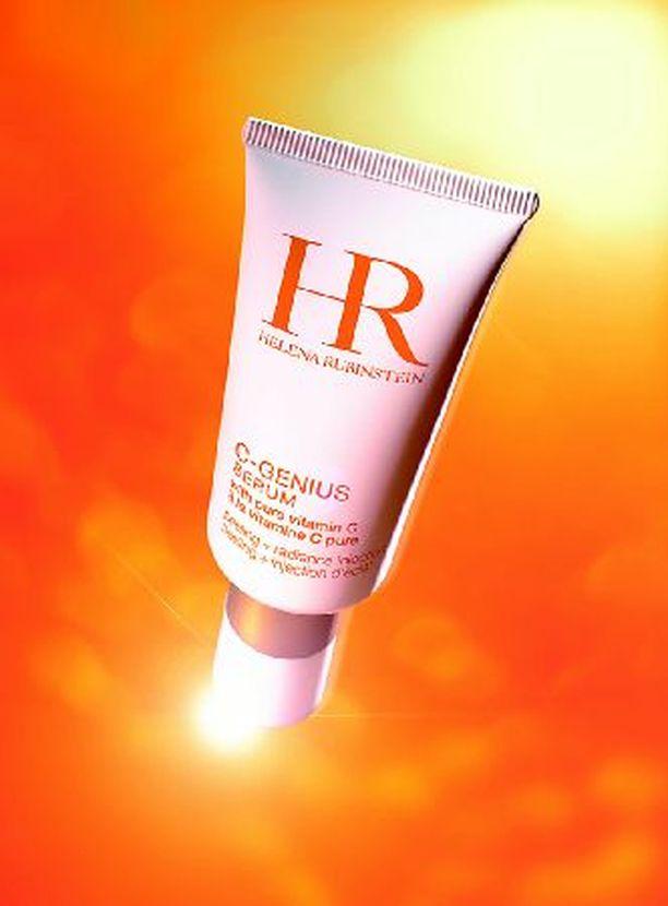 Helena Rubinsteinin uusi C-vitamiinipommi on hoitovoide C-Genius (72 €) ja siihen liittyvä seerumi (85 €). Tuotteet hoitavat ja samalla myös kuorivat ihoa.