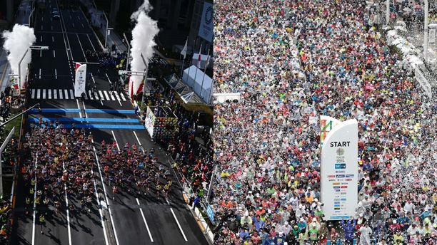 Vasemmalla kuva tämän vuoden Tokion maratonin maalialueelta. Oikealla kuva vuodelta 2019.