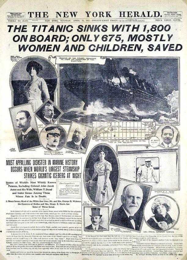 Näin Titanicin tuhosta uutisoitiin amerikkalaislahdessä 16.4.1912.