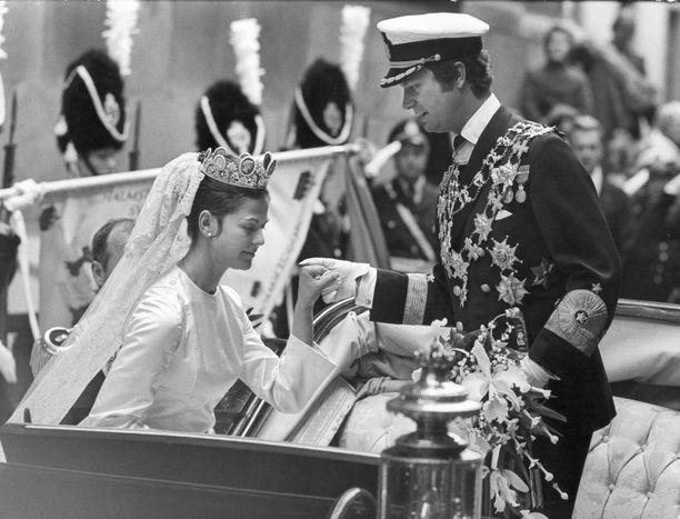 Silvia ja Kaarle Kustaa vihittiin vuonna 1976.