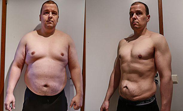 Markku Sorosuo 106-kiloisena ja 15 kuukautta myöhemmin 75-kiloisena.
