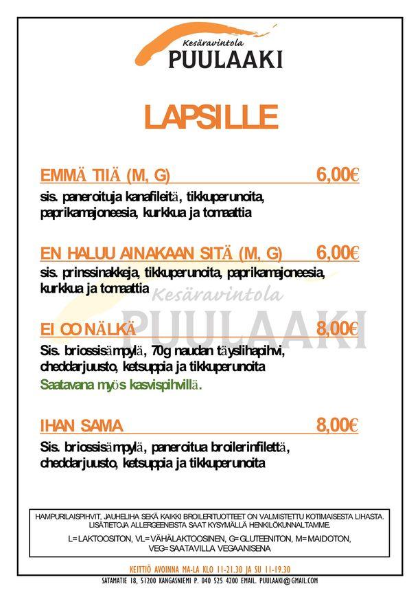 Ravintola Puulaakin lasten lista nousi somesuosioon.