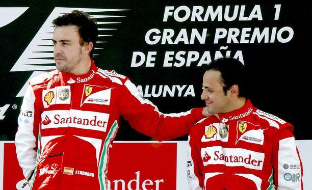 Massa ja Alonso ajoivat yhdessä Ferrarin väreissä. Kaksikko miehitti palkintopallia Espanjan GP:n jälkeen vuonna 2013.