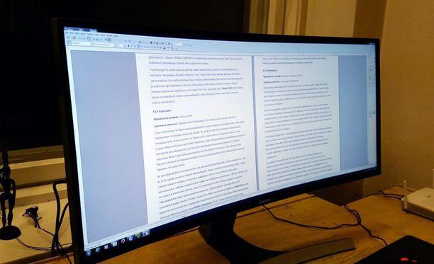 Pitkien tekstitiedostojen käsittelyssä näyttö toimii erinomaisesti, sillä tila riittää useamman sivun yhtäaikaiseen tarkasteluun.