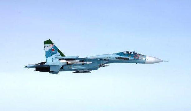 Kuva lokakuulta 2016, jolloin Suomen ilmavoimat tunnisti venäläisen hävittäjän myöskin Porvoon edustalla.