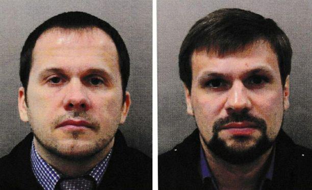 Alexander Petrov ja Ruslan Boshirov Britannian poliisin jakamassa kuvassa.