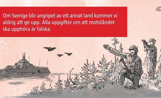 Jos vieras valta hyökkään Ruotsiin, me emme koskaan antaudu, kerrotaan esitteessä.
