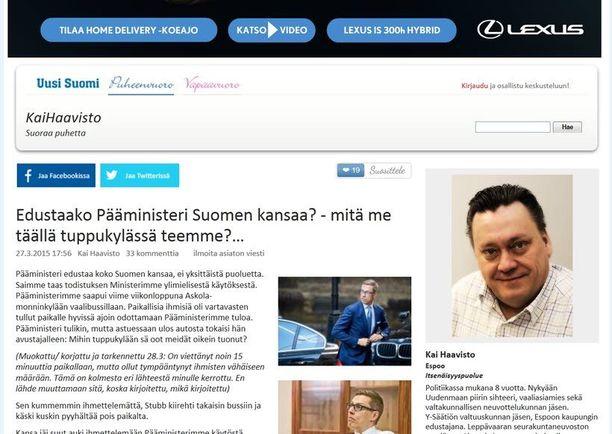 Stubb-huhua levitti myös blogissaan Itsenäisyyspuolueen Kai Haavisto, vaikkei hän itse ollut paikalla Stubbin vierailulla.