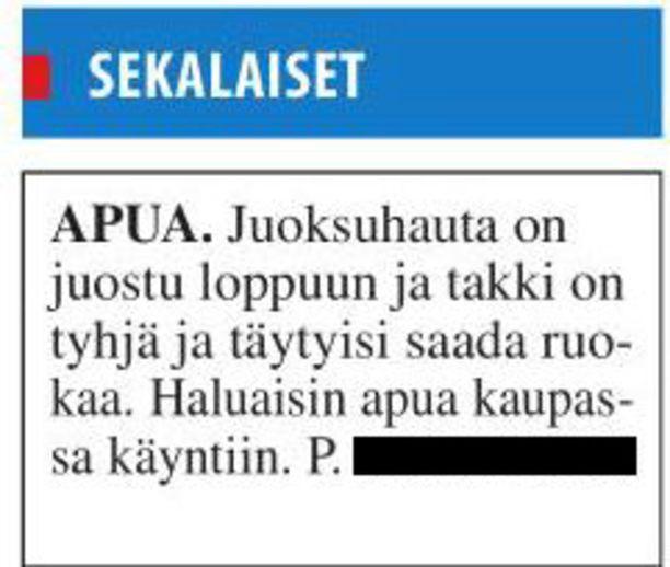 Tämän ilmoituksen huumorimieheksi tunnustautuva Onni Torkkeli laittoi viikko sitten perjantaina Keski-Uusimaa -lehteen.