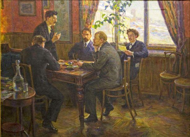 Taiteilija Moravovin teos, joka kuvaa Leninin ja Stalinin kohtaamista Tampereella vuonna 1905.
