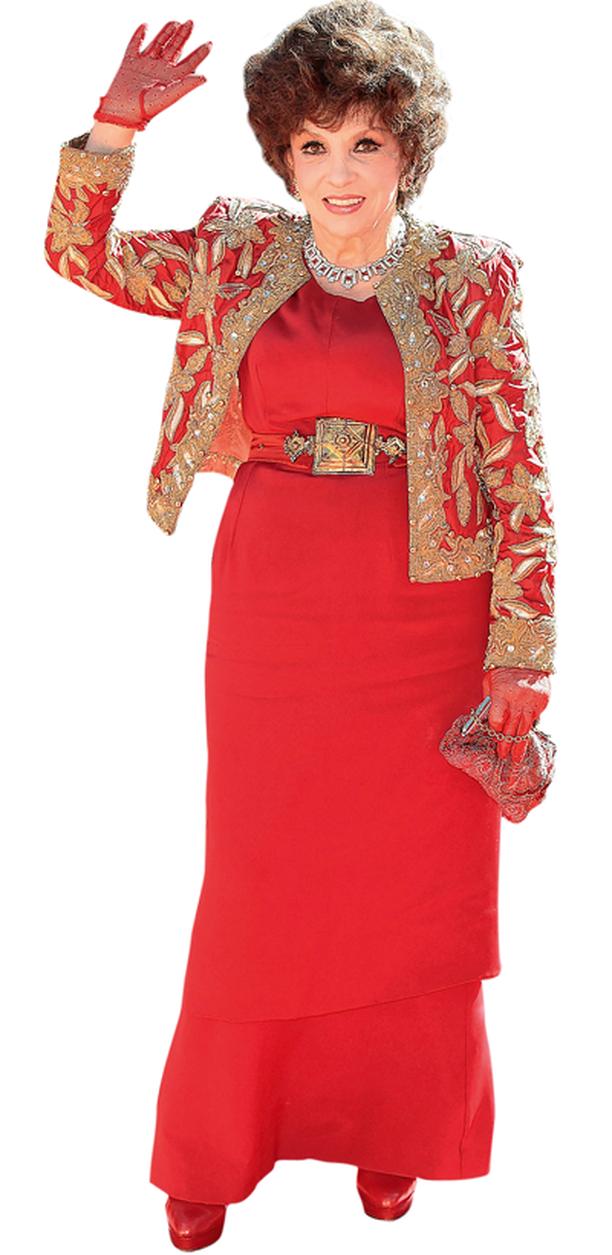 Gina Lollobrigidan gaala-asun jakussa oli trendikäs brokadikirjailu.
